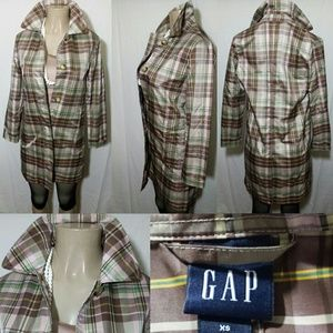 Gap Multicolor Plaid Rain Coat- Size XS